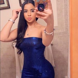 Hot Miami Styles Metallic Blue Midi Dress